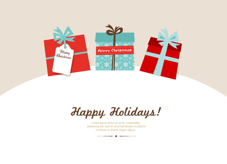 background colors: Color Background with  Christmas Presents in Retro Style.