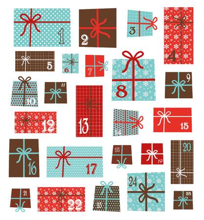 アドベント カレンダー。ベクトル カラフルなクリスマス プレゼント ボックスのコレクションです。ホリデイ ・ シームレス パターン。