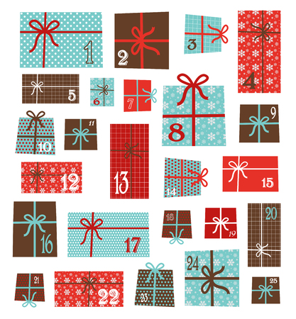 advent calendar. Collection of vector colorful Christmas present boxes. Holiday seamless pattern.