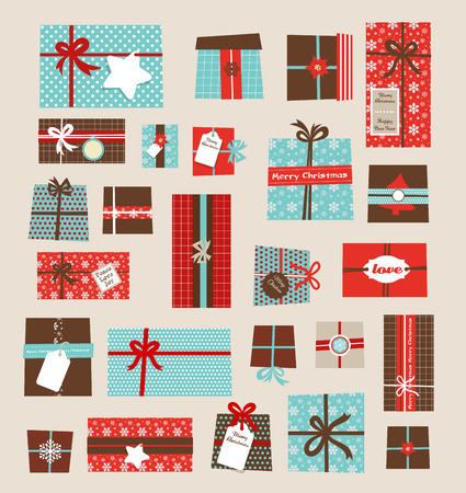 present: Collection of v ector colorful Christmas present boxes. Holiday seamless pattern.