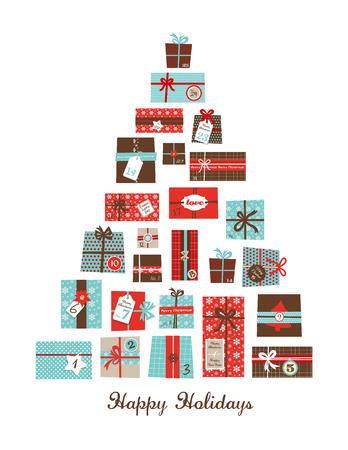 adviento: Regalos de Navidad organizado como un �rbol de temporada. hristmas calendario de adviento