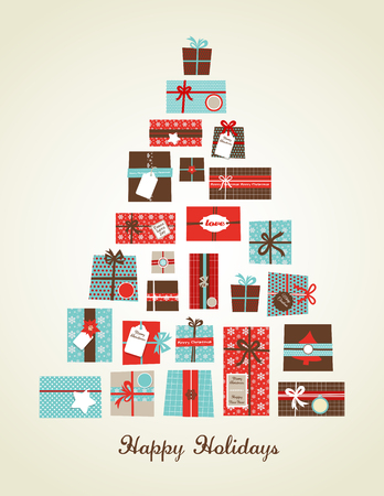 Christmas presents arranged as  a seasonal tree Vectores