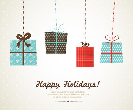 feriado: colgando de navidad y regalos de temporada. Feliz Navidad Vectores