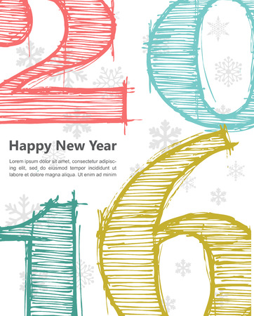 seasons of the year: Happy new 2016 year. Seasons Greetings. Colorful design. Vector illustration and photo image available.