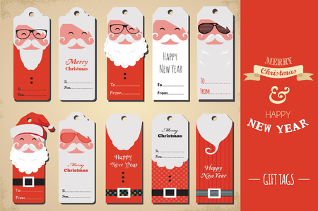 santa claus hats: collection of cute ready to use  christmas gift tags Illustration