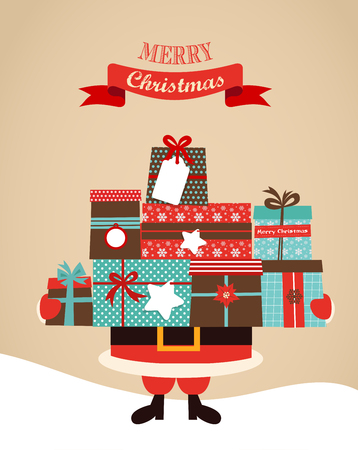 Santa Holding Christmas  Gifts. merry christms and happy new year