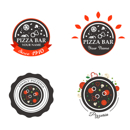 pizzeria label: Pizzeria Restaurant Shop Design Element in Vintage Style for Logotype, Label, Badge,  Tshirts and other design.