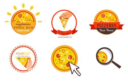 pizzeria label: Pizzeria Restaurant Shop Design Element  for Logotype, Label, Badge, T-shirts and other design.  Pizza retro