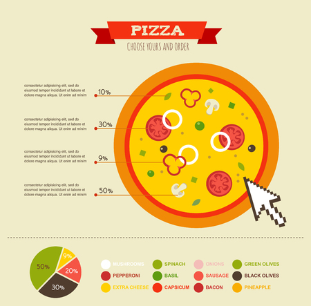 vegetable cook: Pizza Infographics Elements and Icons. pizzeria restauran