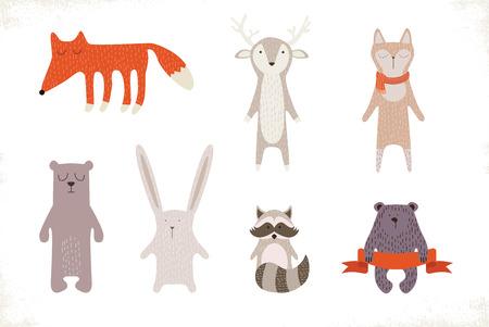 osos navideños: Conjunto del animal del invierno lindo o muñecas. ilustración vectorial Vectores