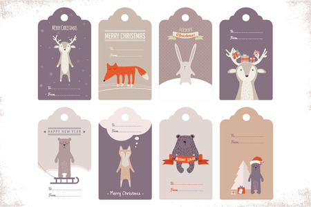 animals collection: collection of 8 craft christmas gift tags with ccute animals. illustration