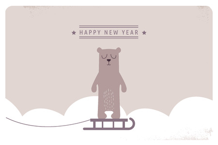 greeting card: cute happy new year greeting card design.  illustration