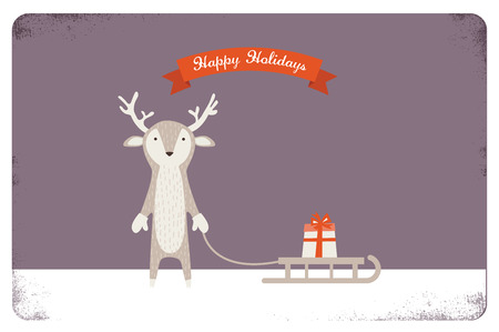 sledging: merry christmas card design.  cute deer holding a sled with a present