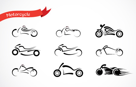 motorcycle repair shop: vector Silhouette  of classic motorcycle. motorcycle icon collection Illustration