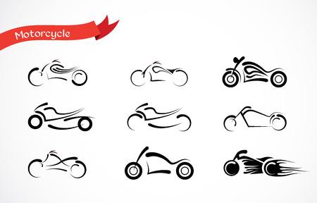 casco moto: vector silueta de motocicleta clásica. colección de iconos de la motocicleta