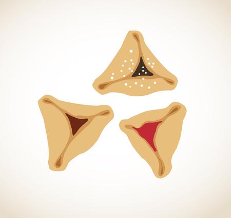 hamantaschen: Set of few different tasty Hamantaschen . happy purim, jewish holiday Illustration