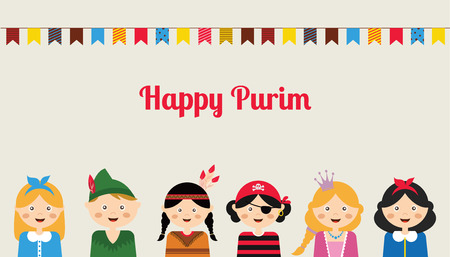Happy jewish children in fancy dress  Enjoy Purim