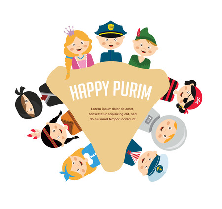 dressing up party: kids wearing different costumes.   happy purim in hebrew. jewish holiday Illustration