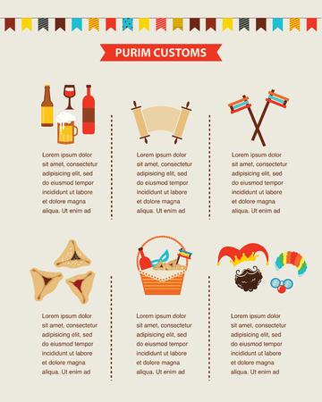 payaso: símbolos de la fiesta judía de Purim. diseño de infografía