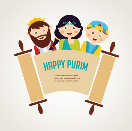 dressing up party: kids wearing costumes from Purim story. arranged around  torah