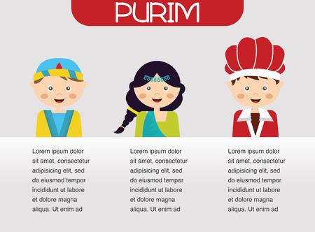 jewish holiday: Purim Story.  Symbols of Jewish holiday purim. infographics design