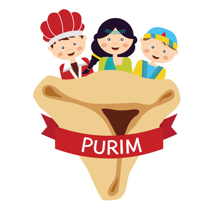 dressing up: kids wearing costumes  from Purim story. arranged around Hamantaschen