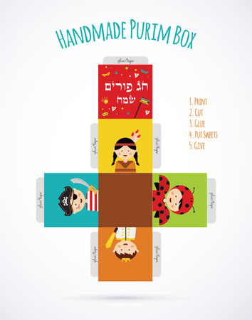 red gift box: kids wearing costumes from  Purim story. template for creating a gift box