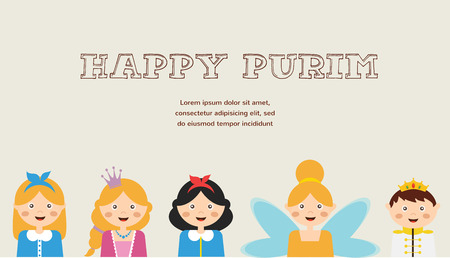 jewish holiday: Happy jewish children in fancy dress  Enjoy Purim