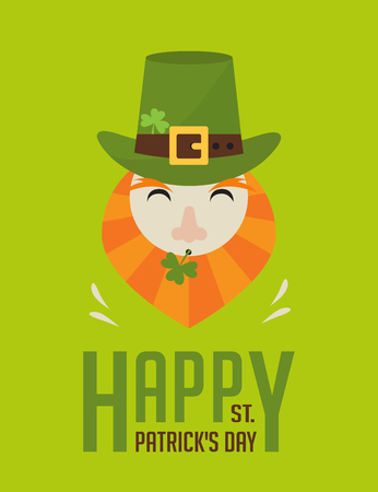 clover face: happy St.  Patricks day. Irish man with beer, St. Patricks Day design Illustration