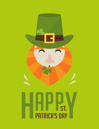 clover face: happy St.  Patricks day. Irish man with beer, St. Patricks Day design Illustration