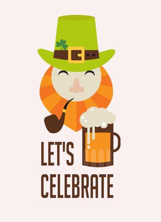leprechaun background: Cute cartoon leprechaun with beer.  St. Patricks Day celebration.