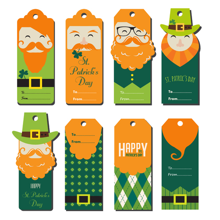 legends folklore: saint Patricks day gift tags. vector illustration Illustration