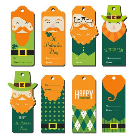dwarf costume: saint Patricks day gift tags. vector illustration Illustration