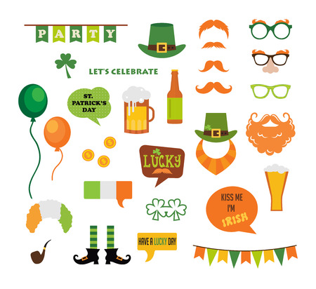 cartoon shamrock: St. Patricks  Day vector design elements set. icons and photo booth props