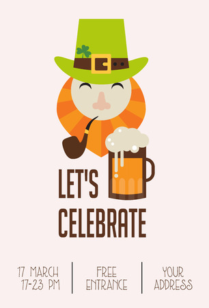 celebration cartoon: Cute cartoon leprechaun with beer. St.  Patricks Day celebration. Irish pub invitation