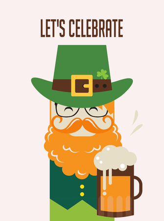 s day: Irish man with beer, St. Patrick s Day design