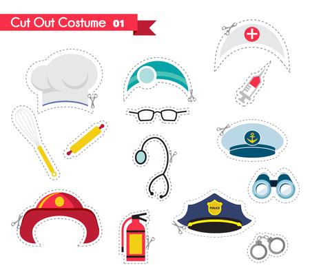 caricatura enfermera: accesorios para diferentes proffestions. trajes para fiestas y cabina de fotos