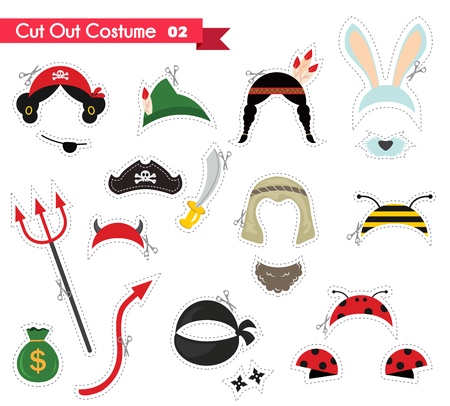 hair mask: paper cut out for kids with costume  accessories . can be used as a props for a theamed party Illustration