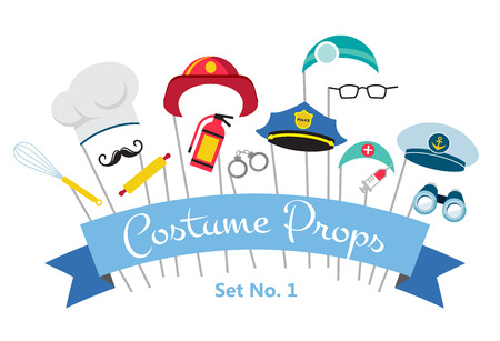 costume party and photo booth props.  profession Illustration