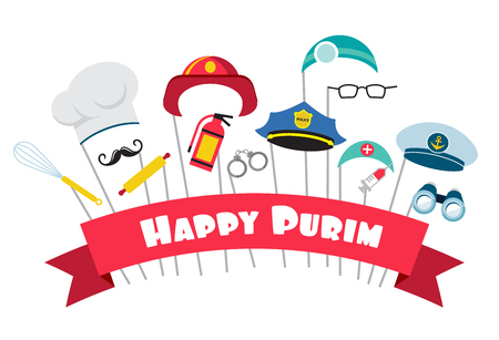 jewish background: design for Jewish holiday Purim  with masks and traditional props. Vector illustration
