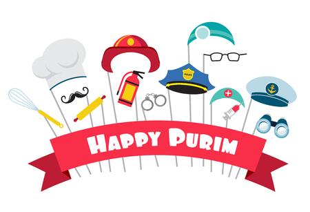 antifaz: dise�o para fiesta jud�a de Purim m�scaras y los apoyos tradicionales. ilustraci�n vectorial Foto de archivo