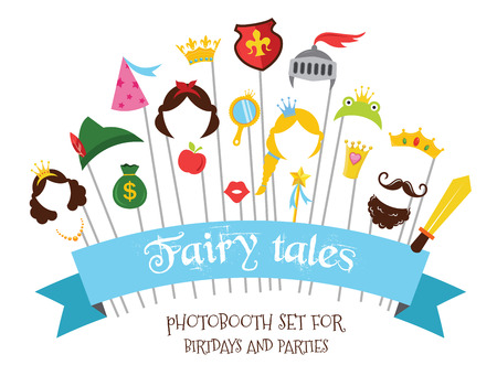 Prince and Princess Party set  - photobooth props - mustaches, wigs and objects - vector Vectores