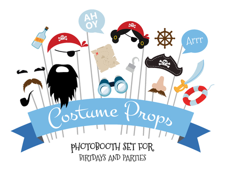 props: Pirate photo booth  props and scrapbooking vector set