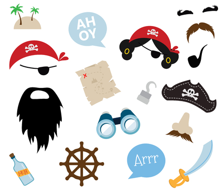 illustrators: A colorful vector Theme of Pirate. equipments,  props and icons