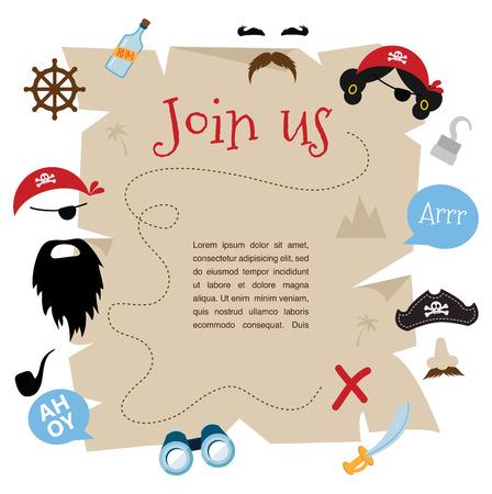 sombrero pirata: diseño de la tarjeta de invitación del partido pirata. ilustración vectorial Vectores