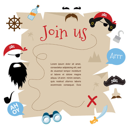 pirate treasure: pirate party invitation  card design. vector illustration