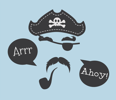 caribbean party: Pirate head  symbols with skull and crossed bones