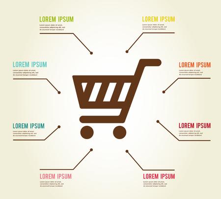 Einkaufen Infografik-Vorlage. Einkaufswagen. Vektor-Illustration