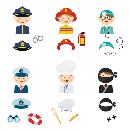 mailman: kids wearing different costumes. professions, animals and princesses . vector illustration