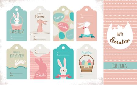 fond de texte: collection d'étiquettes de Pâques avec des lapins et des oeufs de Pâques. Joyeuses Pâques